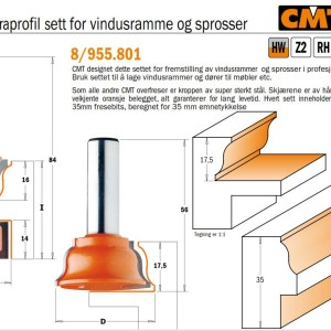 CMT 955.801.11 Fresesett for vindusrammer og sprosser