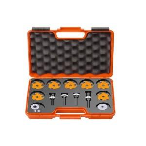 Innholdsrikt notfresesett med 7 stk. Ø 47 mm freser og spenntanger, kulelager og mellomleggsringer