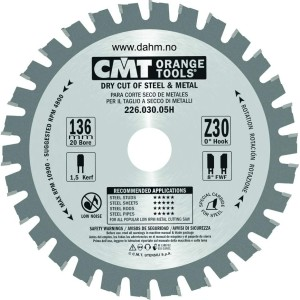 CMT Orange Tools 226.030.05H HM sagblad for metatl 136 x 1.5 x 20  Z30 FWF 5°