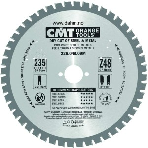CMT Orange Tools 226.048.09 M – Metal Circular Saw Blade 235 x 2.2 x 30 Teeth 48 FWF 8